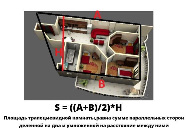 площадь трапециевидной комнаты