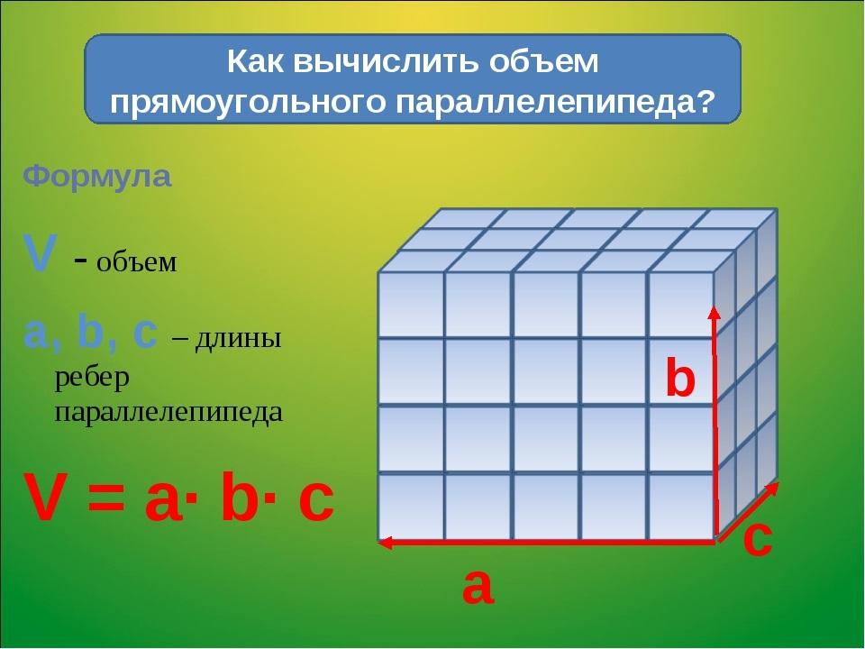 Как рассчитать объем
